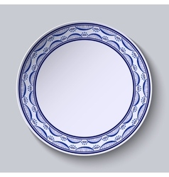 Plate with ornament in gzhel style of painting on vector