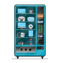 Vending machine with electronic devices vector