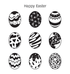 Easter eggs decorating icons set monochrome vector