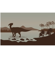 Parasaurolophus in river scenery vector