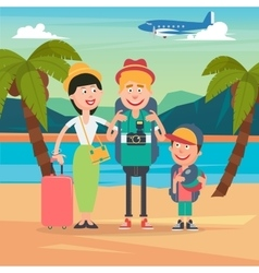 Happy family on beach travel by airplane vector
