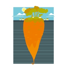 A huge underground carrot concept vector