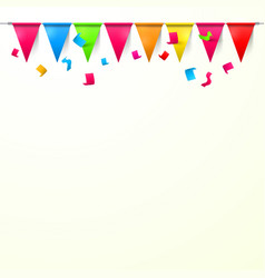 Background with flags and confetti empty space vector