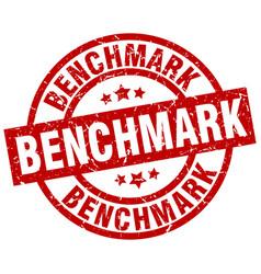 Benchmark round red grunge stamp vector