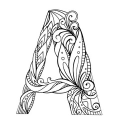 black and white freehand drawing capital letter a vector image