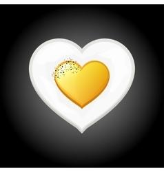 Breakfast eggs heart shape valentine s day vector