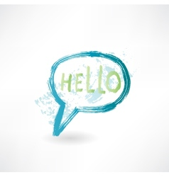 Bubble speech with word hello brush icon vector