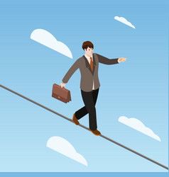 Businessman balancing on rope isometric vector
