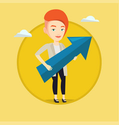 businesswoman aiming at business growth vector image
