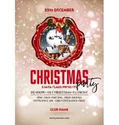 Christmas party poster design greeting messages vector