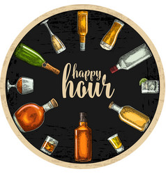 coaster with bottle and glass with beer whiskey vector image