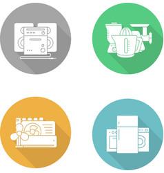 Consumer electronics flat design icons set vector