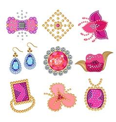 Coquette gemstones brooch vector image vector image
