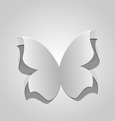 Cut out butterfly grey paper vector image vector image