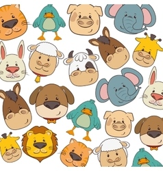 Cute animals heads pattern vector