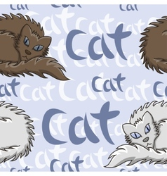 Dark brown and white fluffy cat seamless pattern vector