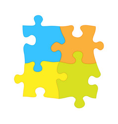 Four jigsaw puzzle pieces - solidarity vector