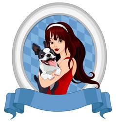 Girl with Boston Terrier vector image vector image