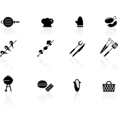 Grilling icons vector