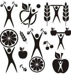 Health and food symbols vector