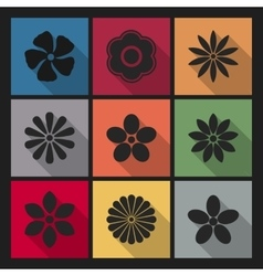 Icons flowers vector image