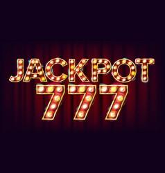 Jackpot 777 banner casino shining light vector