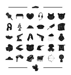 Jewel weapon animal and other web icon in black vector