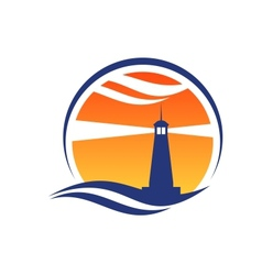 Lighthouse icon at sunset vector image
