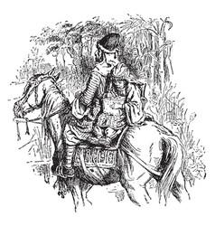 Man and child on horseback vintage vector
