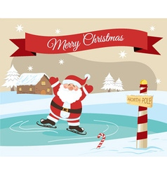 Merry christmas santa ice skating vector