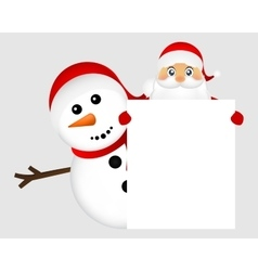 Santa Claus and snowman with white blank banner vector image vector image