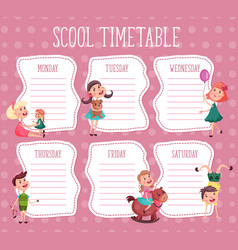 School timetable education diary for pupil vector