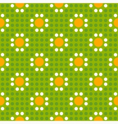 Seamless geometric of polka dot pattern with daisi vector image