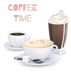 Set of coffee drinks vector