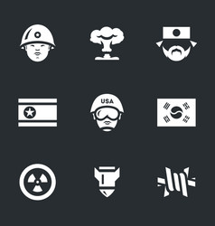 Set of north and south korea icons vector
