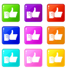 Thumbs up icons 9 set vector