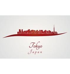 Tokyo V2 skyline in red vector image vector image