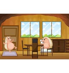 Two molehogs inside the house vector image