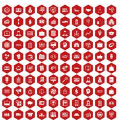 100 business group icons hexagon red vector