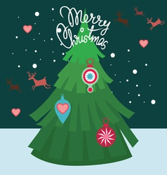 merry christmas post card-tree decor vector image