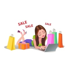 Happy Woman shopping online bads floor Internet vector image