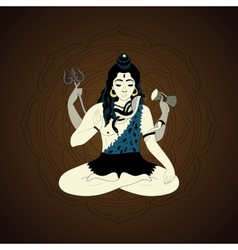 Lord Shiva in the lotus position and meditate vector image