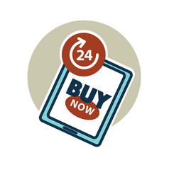 Buy now 24 hours day online shopping without stop vector