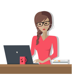 Working day woman planning her work for a week vector