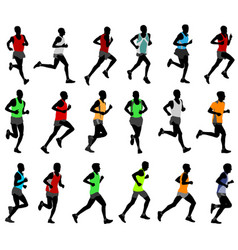 Runners in colored sportswear silhouettes vector