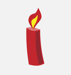 festive christmas red candle vector image