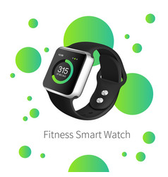 green fitness watch on the white background with vector image