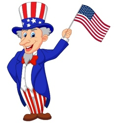 Uncle sam cartoon holding american flag vector