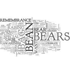 Bean bag bears for a cause text word cloud concept vector