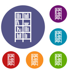 Bookcase icons set vector